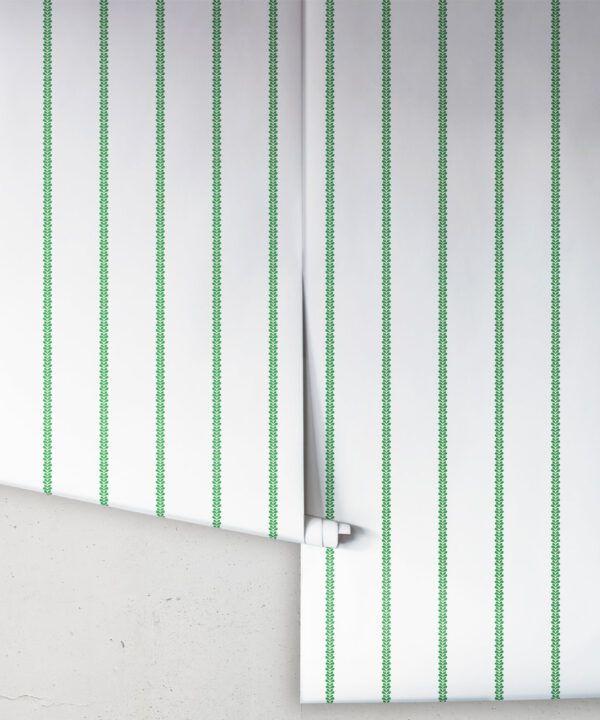 Chemin Wallpaper • Striped Wallpaper • Forest Green • Rolls