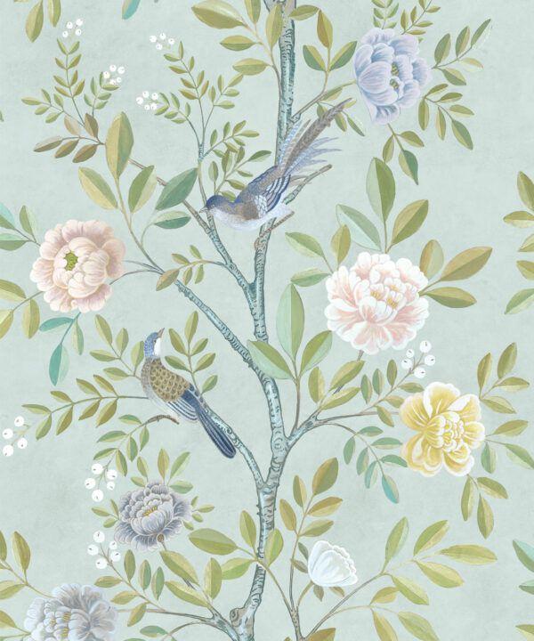 Chinoiserie Wallpaper •Floral Wallpaper •Bird Wallpaper • Magnolia • Aqua • Swatch