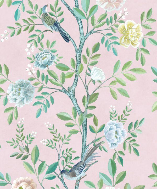 Chinoiserie Wallpaper •Floral Wallpaper •Bird Wallpaper • Magnolia • Blush • Swatch