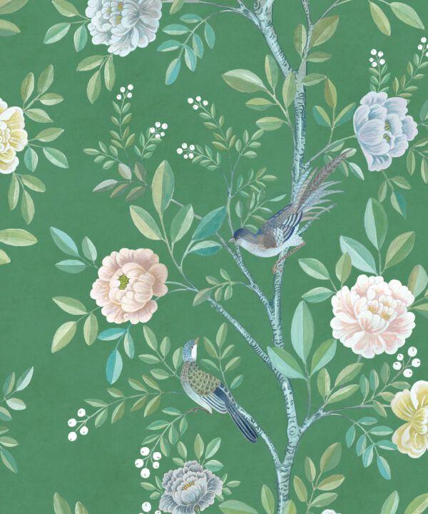 Chinoiserie Wallpaper •Floral Wallpaper •Bird Wallpaper • Magnolia • Forest Green • Swatch