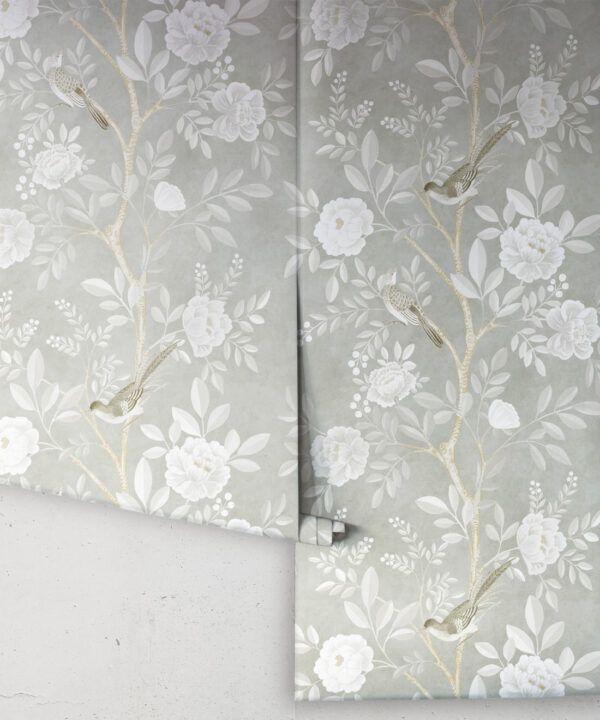 Chinoiserie Wallpaper •Floral Wallpaper •Bird Wallpaper • Magnolia • Linen • Rolls