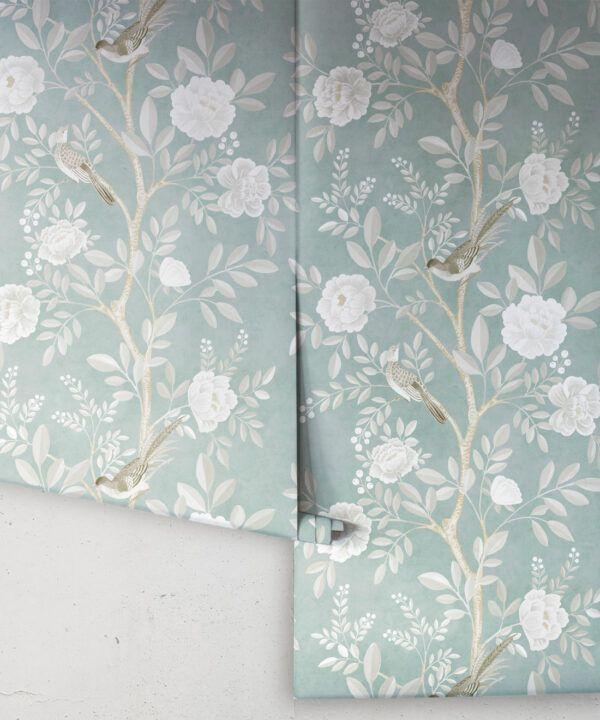 Chinoiserie Wallpaper •Floral Wallpaper •Bird Wallpaper • Magnolia • Milk Green • Rolls