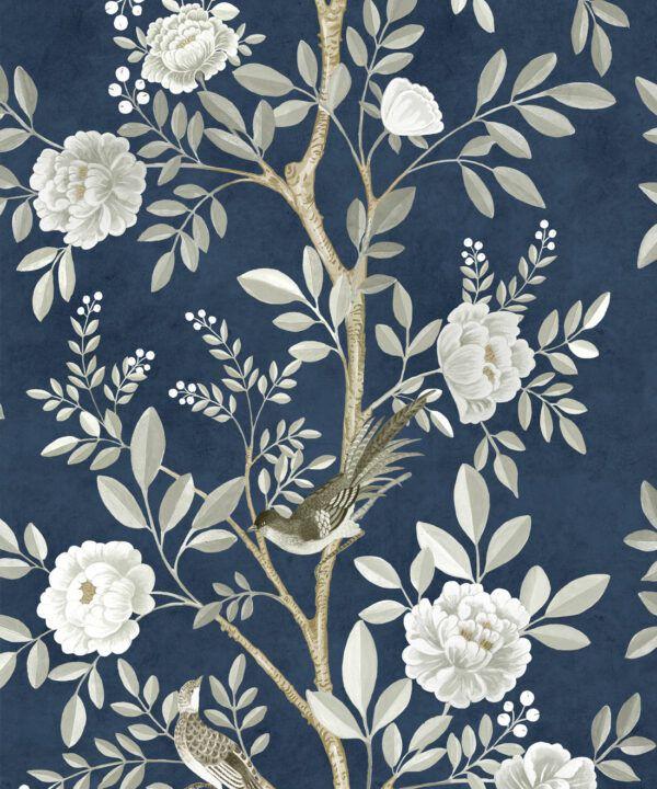 Chinoiserie Wallpaper •Floral Wallpaper •Bird Wallpaper • Magnolia • Royal Blue • Swatch