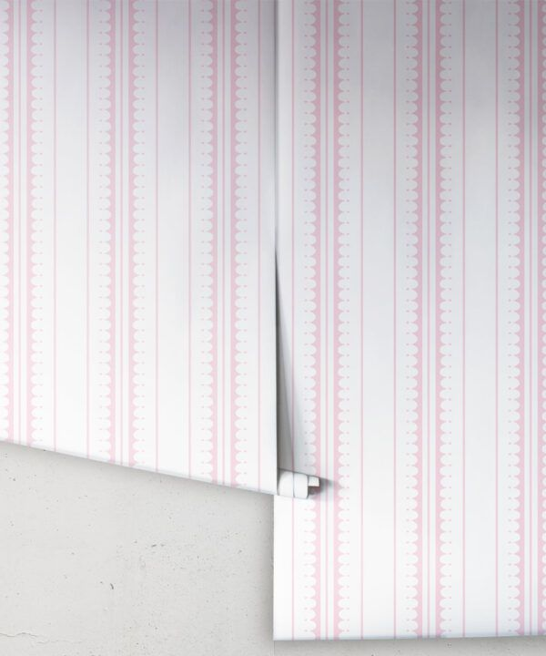Coquille Wallpaper • Stripe and Scallop Wallpaper • Blush • Rolls