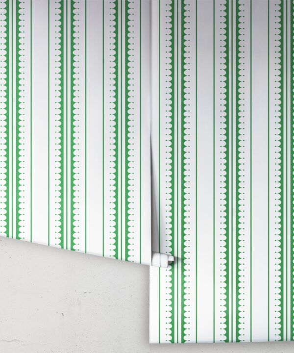 Coquille Wallpaper • Stripe and Scallop Wallpaper • Forest Green • Rolls