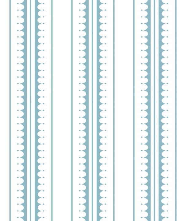 Coquille Wallpaper • Stripe and Scallop Wallpaper • Powder Blue • Swatch