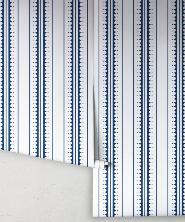 Coquille Wallpaper • Stripe and Scallop Wallpaper • Royal Blue • Rolls