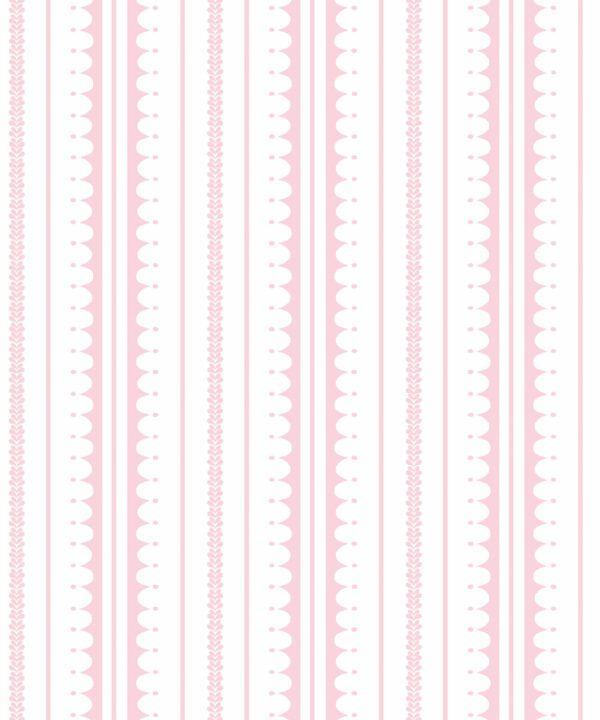 La Grand Coquille • Stripe and Scallop Wallpaper • Blush • Swatch