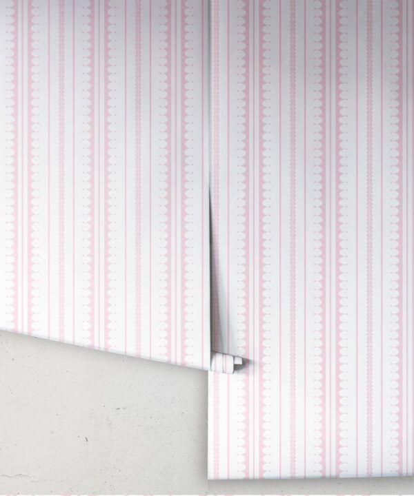 La Grand Coquille • Stripe and Scallop Wallpaper • Blush • Rolls