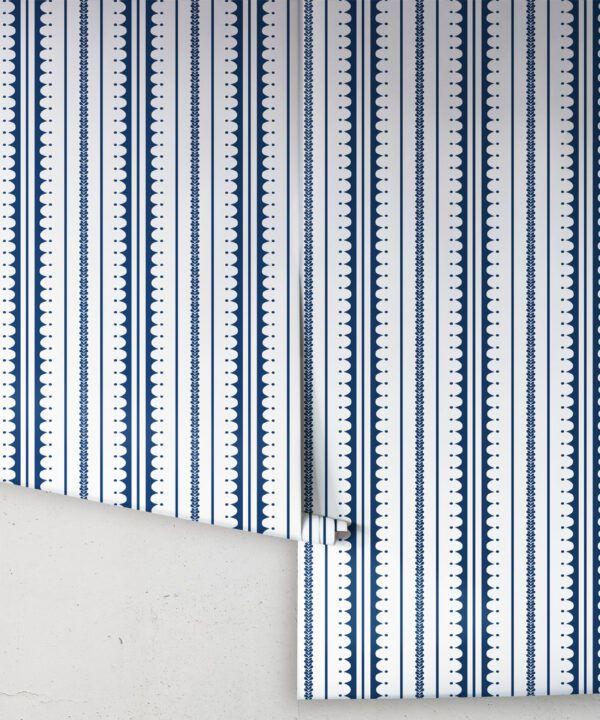 La Grand Coquille • Stripe and Scallop Wallpaper • Royal Blue • Rolls