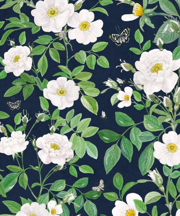 Rosa Wallpaper • Floral Wallpaper •Navy • Swatch