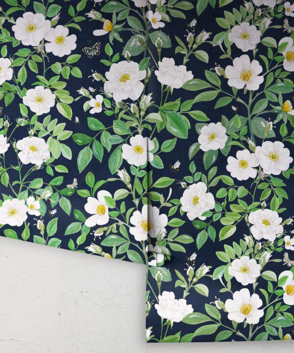 Rosa Wallpaper • Floral Wallpaper •Navy • Rolls