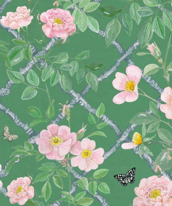 Treilage Wallpaper • Floral Wallpaper • Forest Green • Swatch