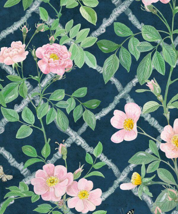 Treilage Wallpaper • Floral Wallpaper • Rose Pink • Swatch