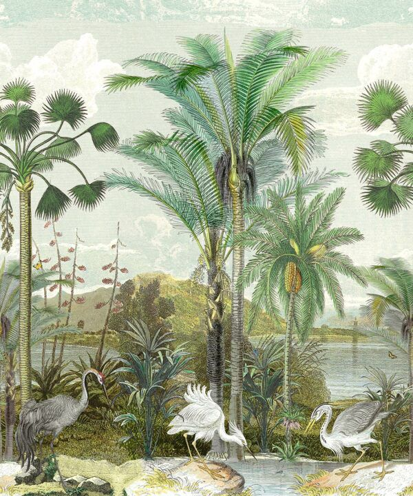 Indian Subcontinent Wallpaper Mural •Bethany Linz • Palm Tree Mural • Blue • Swatch