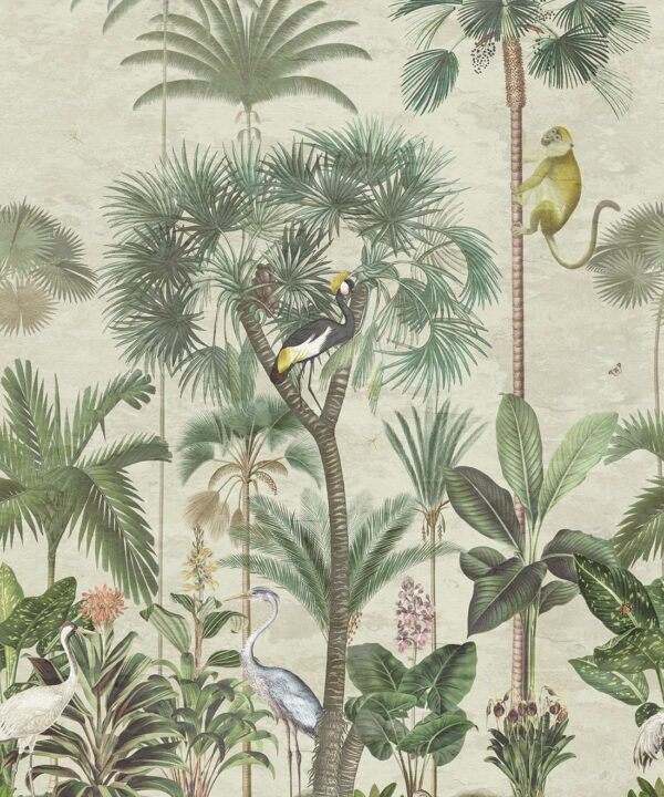 Indian Summer Wallpaper Mural •Bethany Linz • Palm Tree Mural • Aged • Swatch