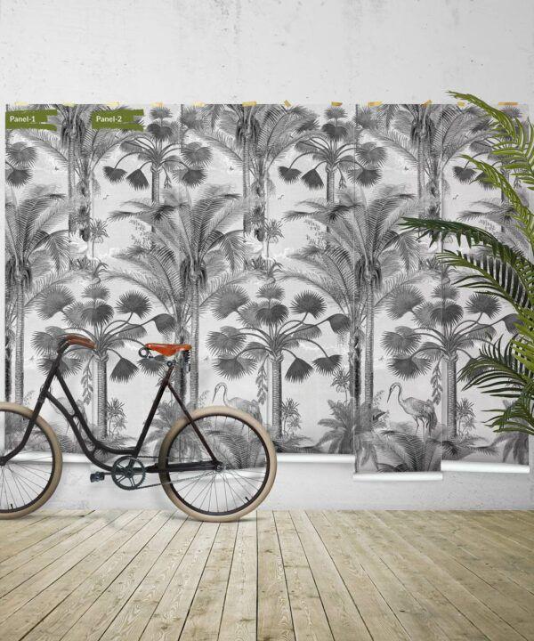 Kerala Palms Wallpaper Mural •Bethany Linz • Palm Tree Mural • Black & White • Panels