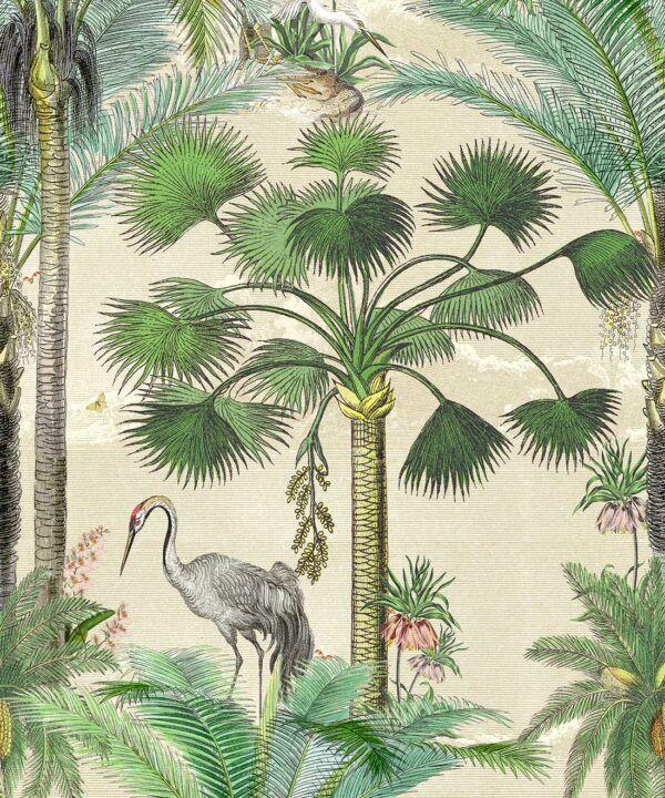 Kerala Palms Wallpaper Mural •Bethany Linz • Palm Tree Mural • Beige • Swatch