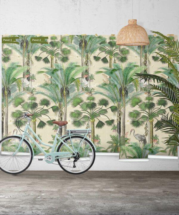 Kerala Palms Wallpaper Mural •Bethany Linz • Palm Tree Mural • Beige • Panels