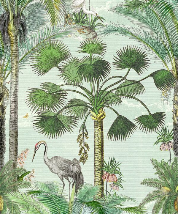 Kerala Palms Wallpaper Mural •Bethany Linz • Palm Tree Mural • Blue • Swatch