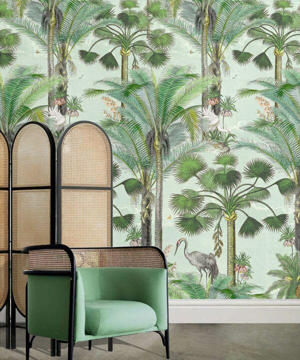 Kerala Palms Wallpaper Mural •Bethany Linz • Palm Tree Mural • Blue • Insitu