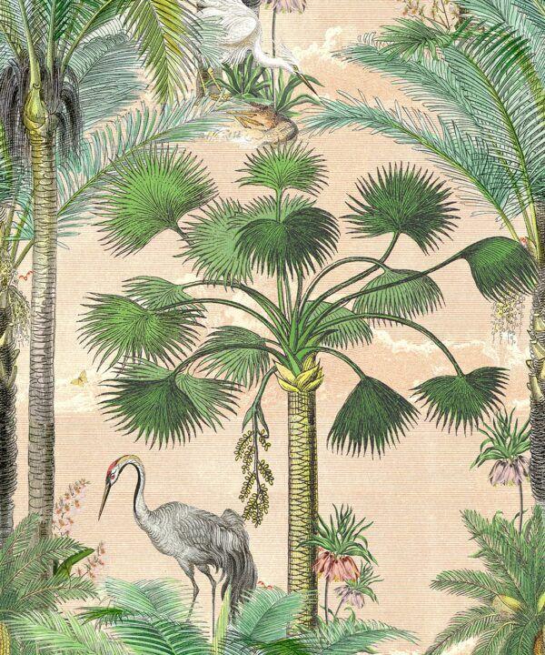 Kerala Palms Wallpaper Mural •Bethany Linz • Palm Tree Mural • Pink • Swatch