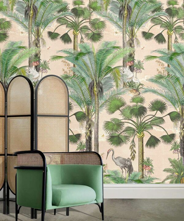 Kerala Palms Wallpaper Mural •Bethany Linz • Palm Tree Mural • Pink • Insitu