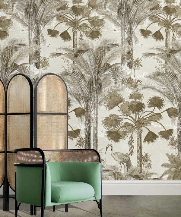 Kerala Palms Wallpaper Mural •Bethany Linz • Palm Tree Mural • Sepia • Insitu