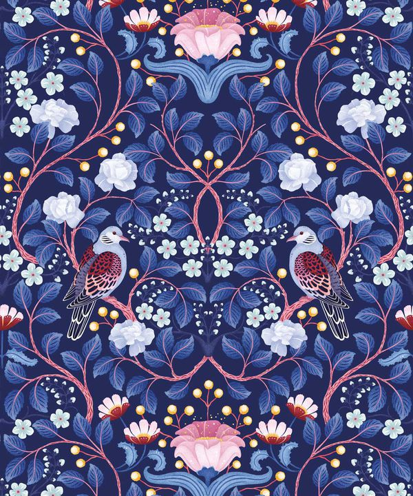 Turtle Doves Wallpaper • Bold Colorful Bird Wallpaper • Blueberry •Swatch