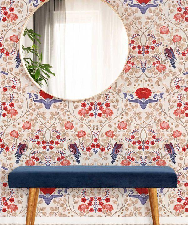 Turtle Doves Wallpaper • Bold Colorful Bird Wallpaper • Creme •Insitu