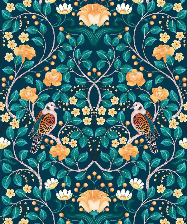 Turtle Doves Wallpaper • Bold Colorful Bird Wallpaper • Emerald •Swatch