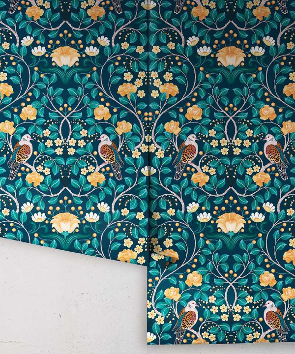 Turtle Doves Wallpaper • Bold Colorful Bird Wallpaper • Emerald •Rolls