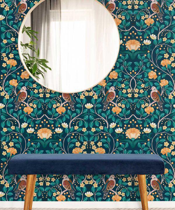 Turtle Doves Wallpaper • Bold Colorful Bird Wallpaper • Emerald •Insitu