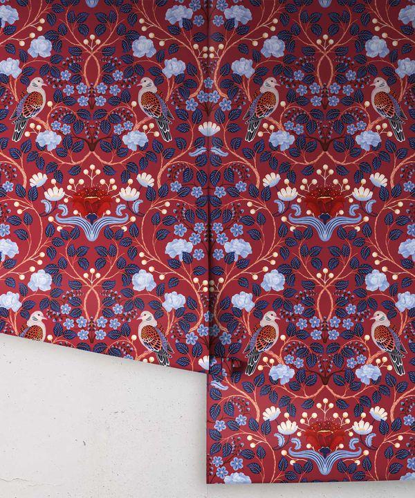 Turtle Doves Wallpaper • Bold Colorful Bird Wallpaper • Merlot •Rolls