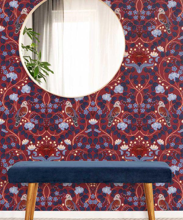 Turtle Doves Wallpaper • Bold Colorful Bird Wallpaper • Merlot •Insitu