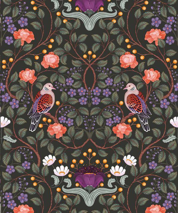 Turtle Doves Wallpaper • Bold Colorful Bird Wallpaper • Original •Swatch