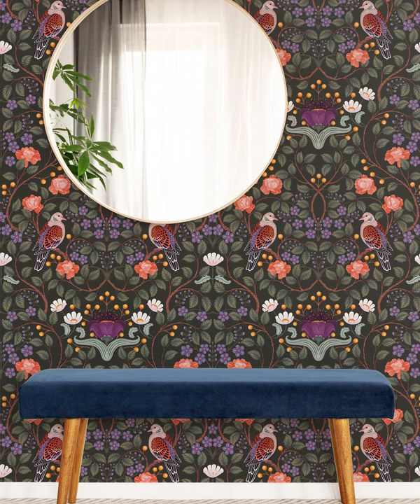 Turtle Doves Wallpaper • Bold Colorful Bird Wallpaper • Original • Insitu