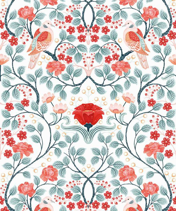 Turtle Doves Wallpaper • Bold Colorful Bird Wallpaper • Peppermint •Swatch