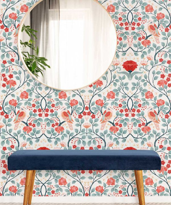 Turtle Doves Wallpaper • Bold Colorful Bird Wallpaper • Peppermint •Insitu