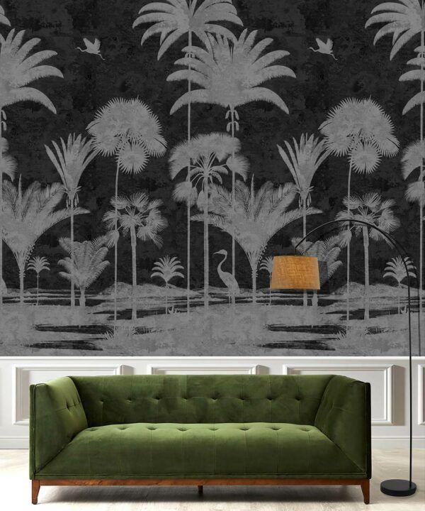 Shadow Palms Wallpaper Mural •Bethany Linz • Palm Tree Mural • Black & White • Insitu