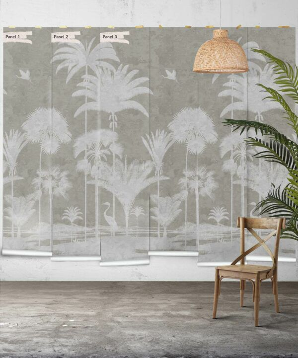 Shadow Palms Wallpaper Mural •Bethany Linz • Palm Tree Mural • Beige • Panels
