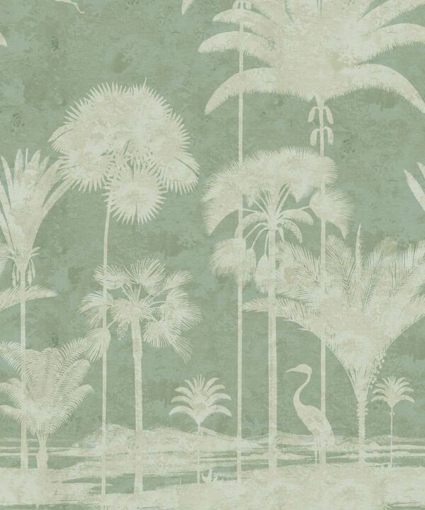 Shadow Palms Wallpaper Mural •Bethany Linz • Palm Tree Mural • Mint • Swatch