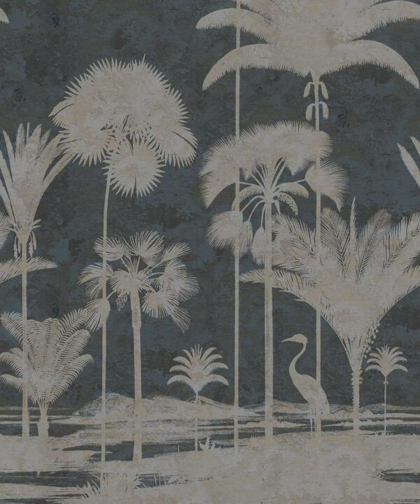Shadow Palms Wallpaper Mural •Bethany Linz • Palm Tree Mural • Navy • Swatch