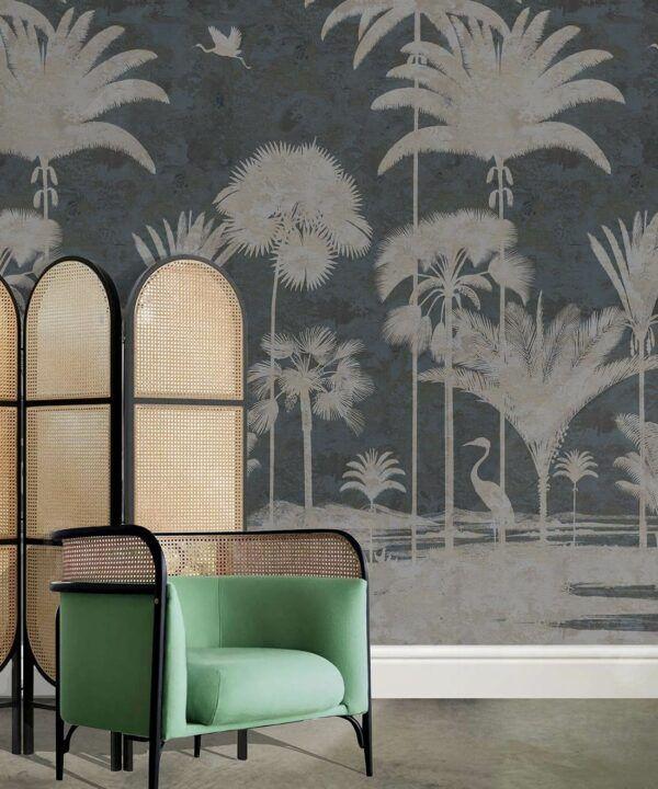 Shadow Palms Wallpaper Mural •Bethany Linz • Palm Tree Mural • Navy • Insitu