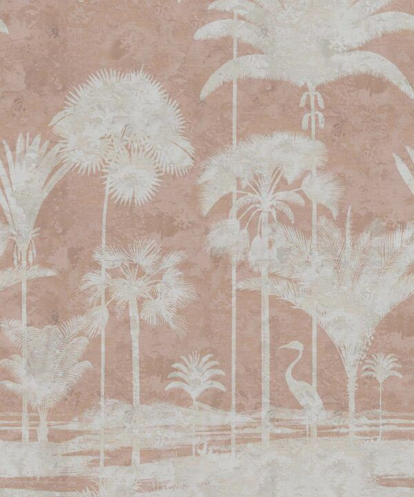 Shadow Palms Wallpaper Mural •Bethany Linz • Palm Tree Mural • Pink • Swatch