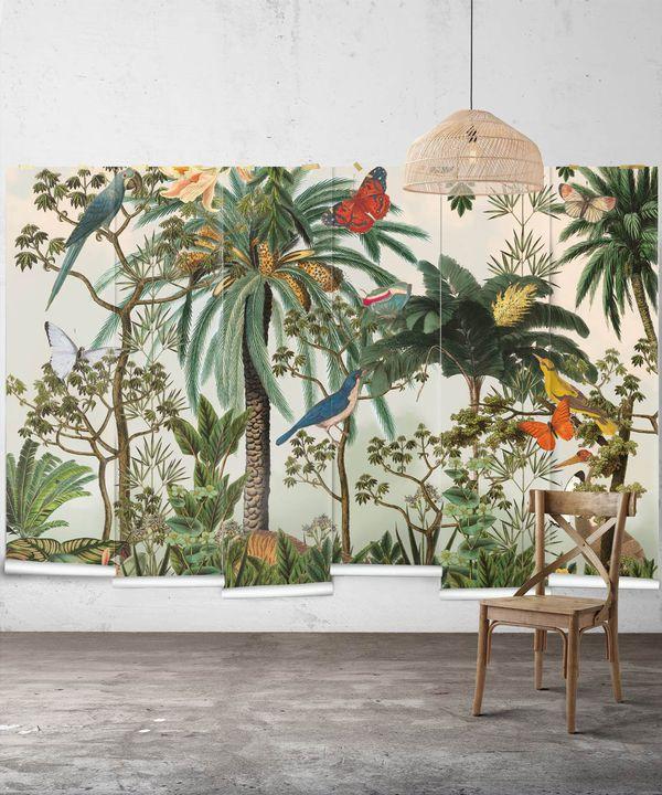 Heritage Jungle Mural • Tropical Jungle Animal Wallpaper • Swatch
