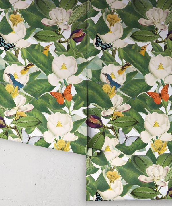 Magnolia Bloom Wallpaper • Floral White Magnolias •Rolls