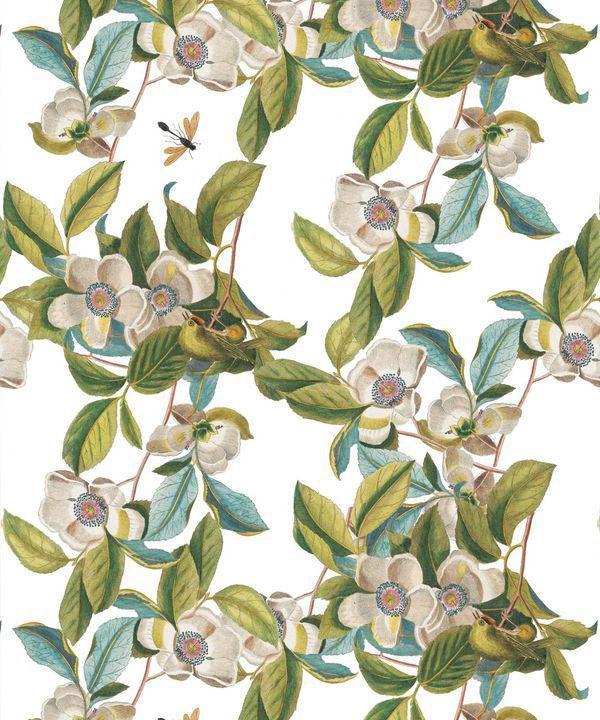 Midsummer Garden Wallpaper • White Floral Wallpaper •Swatch