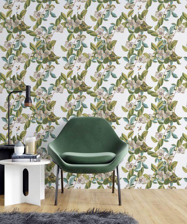 Midsummer Garden Wallpaper • White Floral Wallpaper •Insitu