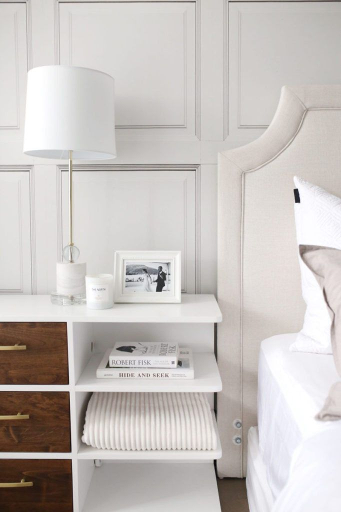 Bedroom space designed by Jillian Harris showing The Parlour Wallpaper manufactured and sold by Milton & King with white bed linens and light brown accents